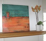 Brooke Howie Turquoise and Salmon Abstract