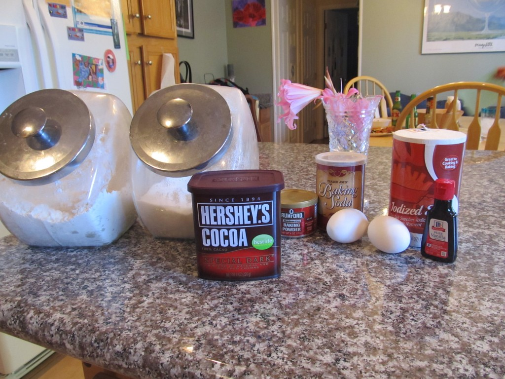 Ingredients for Hershey's Dark Chocolate Cupcakes with Vanilla Frosting