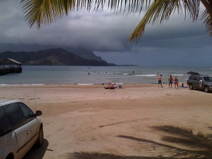 Hanalei Bay on our last day.  The waves were strong with the stormy winds.