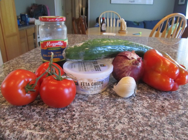 Ingredients for cucumber salad