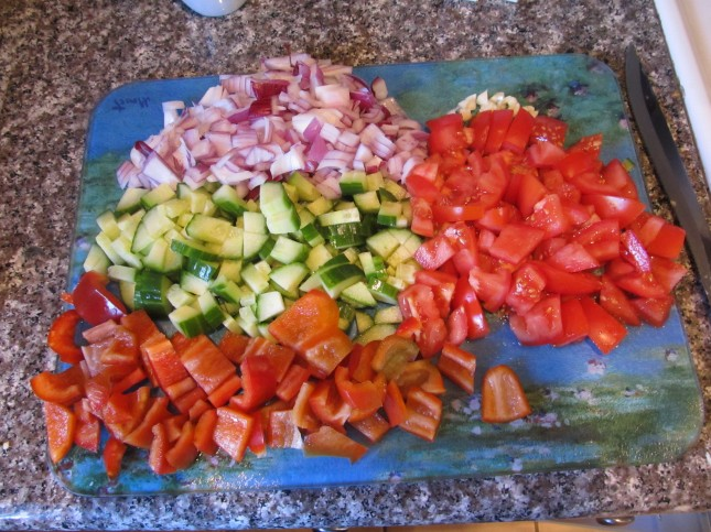 Chopped Veggies for Cucumber Salad