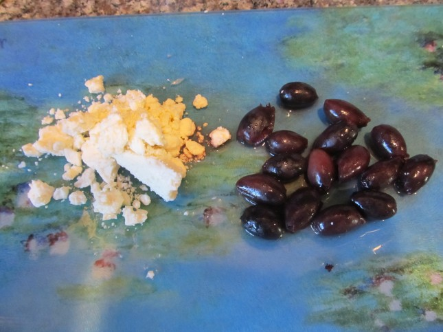 feta cheese and olives for cucumber salad