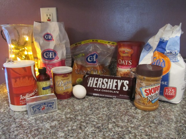 Ingredients fo PB, Oatmeal, and Chocolate Chunk Cookies