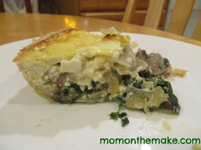 spinach, feta, and mushroom quiche