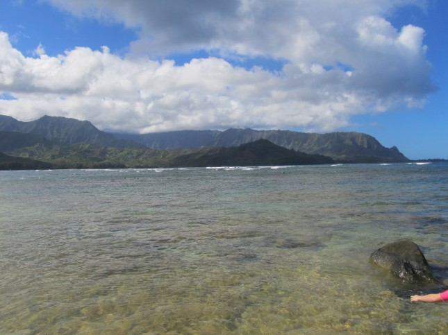 view of hanalei from Pu'u Poa Beach