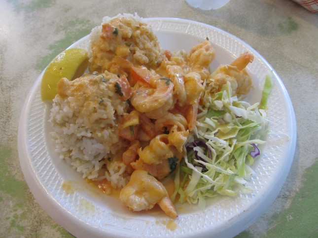 aloha shrimp plate at savage shrimp