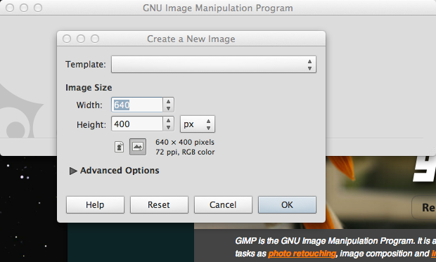 create new image box in gimp