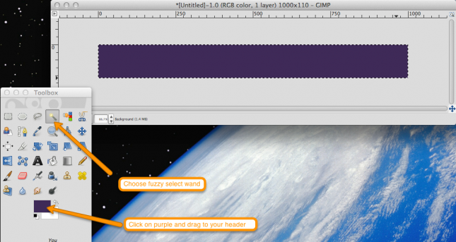 drag purple color to your header in gimp