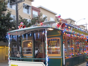 Christmas Cable Cars San Francisco
