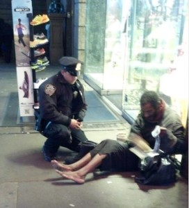 policeman giving boots