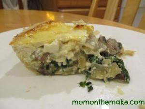 spinach, feta, and mushroom quiche